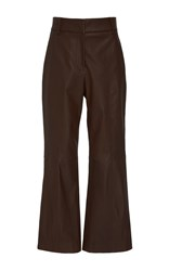Tibi Cropped Leather Pants Brown