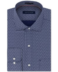 Tommy Hilfiger Men's Classic Regular Fit Non Iron Blue Crab Print Dress Shirt New Navy