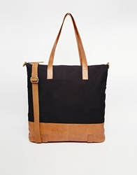 Asos Canvas And Leather Tote Bag Navy