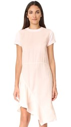Clu Asymmetrical Paneled Mix Media Dress Light Pink