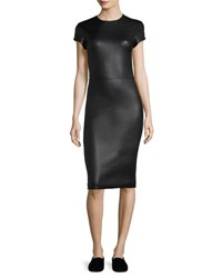 The Row Bocilla Leather Sheath Dress Black