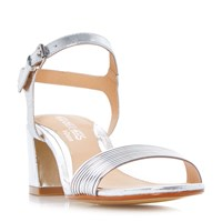 Head Over Heels Mandi Low Block Tube Strappy Sandals Silver Metallic