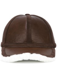 Neil Barrett Leather And Shearling Baseball Cap Brown