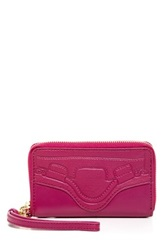 Foley Corinna City Chatter Leather Wristlet Pink