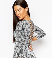 Naanaa Lace Up Back Body With 3 4 Sleeve Multi