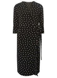 Dorothy Perkins Black And Ivory Spotted Wrap Dress