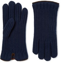 Loro Piana Leather Trimmed Ribbed Cashmere Gloves Blue