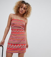 Glamorous Petite Cami Dress With Tie Back In Aztec Print Red Aztec