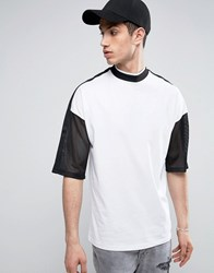 Asos Oversized T Shirt With Mesh Sleeves And Turtleneck White