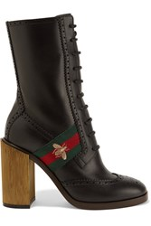 Gucci Canvas Trimmed Leather Ankle Boots Black