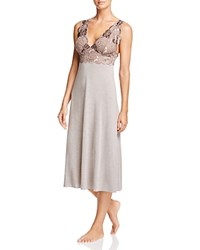 Natori Zen Floral Lace Trim Gown Java