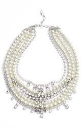 Cristabelle Women's Crystal And Imitation Pearl Multistrand Necklace Silver