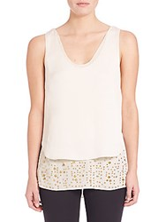 Foundrae Embellished Layered Tank Top White