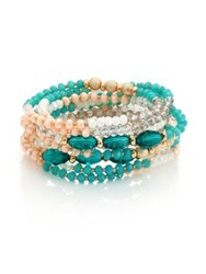 Abs By Allen Schwartz Jewelry Multi Bead Stretch Bracelets Set Of 9 Gold Turquoise