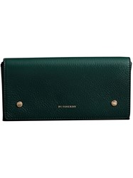 Burberry Two Tone Leather Continental Wallet Blue
