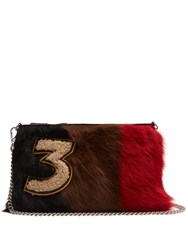 Miu Miu Tri Colour Smooth Shearling And Leather Pouch Multi
