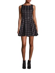 Alice Olivia Monah Plaid A Line Dress Black White