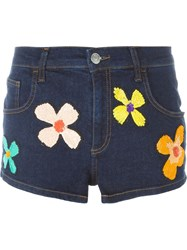 Au Jour Le Jour Floral Sequinned Denim Shorts Blue