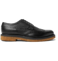 Dries Van Noten Pebble Grain Leather Wingtip Brogues Black