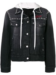 Miu Miu Denim Flower Stud Jacket Black