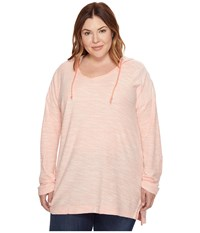 Columbia Plus Size Coastal Escape Hoodie Lychee Heather Women's Sweatshirt Pink