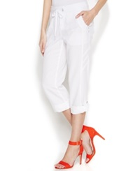 Inc International Concepts Petite Drawstring Cuffed Pants Bright White