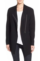 Eileen Fisher Asymmetrical Boiled Merino Wool Jacket Black