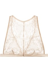 I.D. Sarrieri Accord Prive Satin Trimmed Embroidered Stretch Tulle Soft Cup Bra Beige