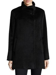 Cinzia Rocca Stand Collar Car Coat Black