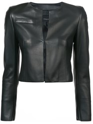 Akris Cropped Fitted Jacket Leather Black
