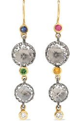 Larkspur And Hawk Sadie 14 Karat Gold Rhodium Dipped Multi Stone Earrings