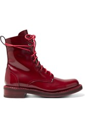 Rag And Bone Emill Lace Up Patent Leather Ankle Boots Burgundy