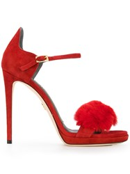 Loriblu Sandal Flower Pumps Women Leather Rabbit Fur Suede 37.5 Red