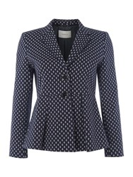 Marella Chicky Anchor Print Jacket With Peplum Navy