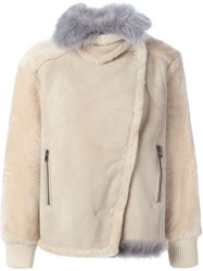 Tibi Shearling Rider Jacket Nude And Neutrals