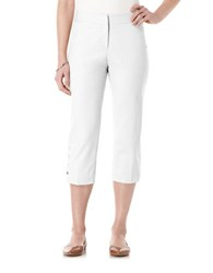 Rafaella Curvy Fit Faux Snap Capri Pants White