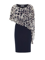 Gina Bacconi Plain Dress And Animal Floral Cape Black