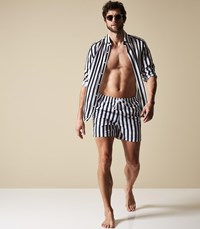 Reiss Flint Striped Swim Shorts In Navy