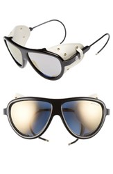 Moncler Women's 57Mm Mirrored Shield Sunglasses Black Gunmetal Violet Mirror Black Gunmetal Violet Mirror
