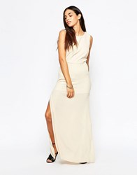 Goldie Over Exposed Maxi Dress Beige