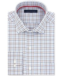 Tommy Hilfiger Men's Classic Fit Non Iron Medium Purple Check Dress Shirt Plum