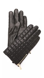 Kate Spade Bow Quilted Gloves With Side Zip Black