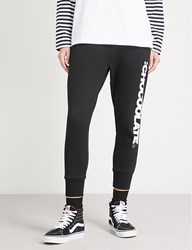 Chocoolate Cropped Logo Print Tapered Cotton Jersey Jogging Bottoms Black