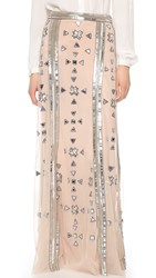 Temperley London Long Carly Skirt Nude Mix