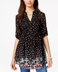 American Rag Printed Pintucked Three Quarter Sleeve Tunic Top Only At Macy's