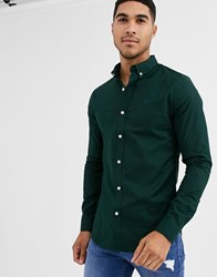 New Look Muscle Fit Oxford Shirt In Dark Green