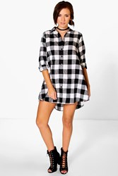 Boohoo Checked Oversized Shirt Dress White