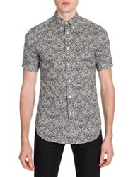 Alexander Mcqueen Lace Print Button Down Shirt Shell Black