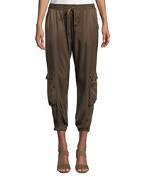 Johnny Was Cropped Satin Cargo Pants Military Green