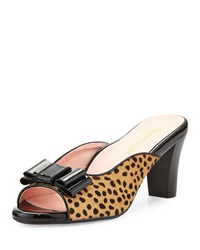 Fico Peep Toe Bow Mule Natural Black Taryn Rose